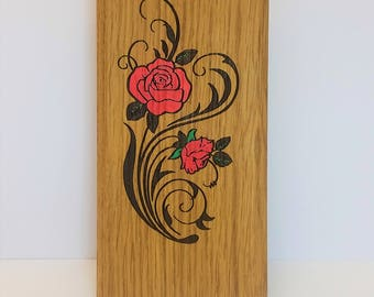 oak sign - oak plaque - personalised -rose flower - rustic wall art - room decor  - christmas present - house warming - best friend
