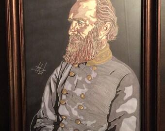 Framed 8x10 Original Art Sketched Portrait Civil War General Thomas Stonewall Jackson By Artist Tony Keaton