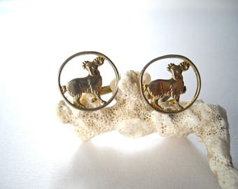 Capricorn cufflinks, men's constellation accessory. Capricorn star sign. Real Vintage animal cufflinks 20 mm / 0,8 inch