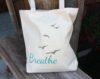 Beach style BREATHE handpainted cotton bag, canvas tote for markets, festivals, book or project bag. Knitting, school, groceries, shopping,