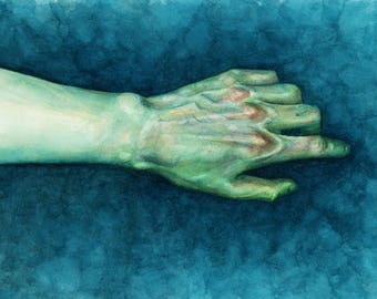 Green Watercolour Hand Study - Giclée Fine Art Print