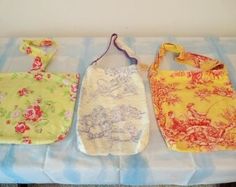 Asstd. totes for shopping/trave/doorknob bags.  All Cotton