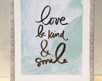 Love Be Kind & Smile 11x14 Canvas Pallet Wall Print
