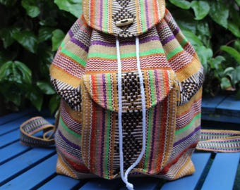Handmade Loomed Mexican backpack in multicoloured stripes and diamond pattern / Hippie backpack / Goa backpack / Colourful backpack