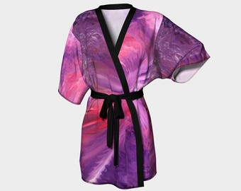War In Heaven Kimono Robe, Abstract Kimono Robe, Modern Kimono Robe, Bridesmaid Robes, Asian Robes, Silky Knit Robes, Bridal Robes