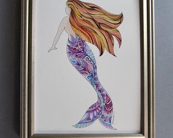 mermaids, mermaid art, mermaid wall decor, mermaid painting, mermaid zentangle, beach art, sea creatures, ocean art