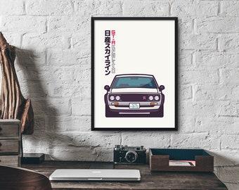 Nissan Skyline GT-R KPGC110 Car Poster Art Print Wall Art