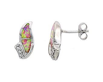 Sterling Silver Pink Opal Stud Earrings CZ Accent