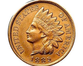 1889 Indian Head Cent - AU / BU - 3 1/2 Diamonds