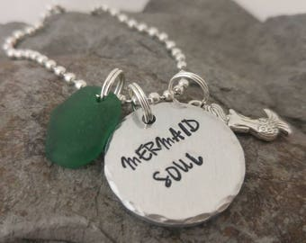 Mermaid necklace, Sea glass necklace, hand stamped necklace, mermaid soul necklace
