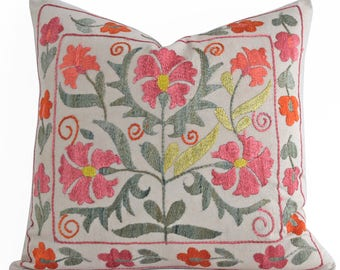 SALE 30% Hand Embroidery Silk Suzani Pillow Orange Mint Coral Beige Suzani Pillow Suzani Pillow Cover Decorative Pillow Throw Pillow, Accent