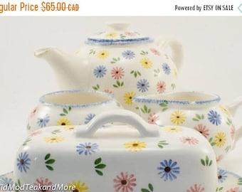 FLASH SALE Vintage Tea Set by Schramberg Majolica Daisies Handpainted Germany