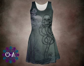 Death Eater Dress - Harry Potter Dress Magical Dress Hogwarts Dress Horcrux Dress Plus Size Dress Voldemort Dress Oddity Apparel