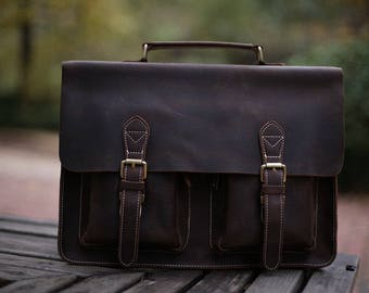 Dark Brown Leather Messenger bag / Leather Messenger/ Leather Briefcase / Leather Shoulder Bag/ Leather Mens Bag/ Mens gift
