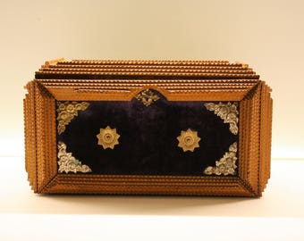 Antique tramp art box - antique jewellery box - folk art - american art - early 20th century box - wooden jewellery box - velvet box