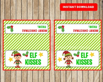 Elf Kisses Treat Bag Toppers, Christmas Bag Topper Printable DIY Party Favors, Holiday Bag Tags Christmas Labels Instant Download