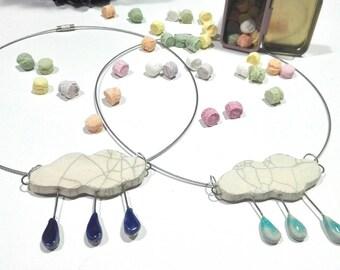 Ceramic cloud necklace
