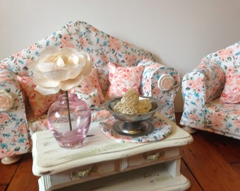"""SOLD 18"""" Doll furniture, sofa and chair living room set"""