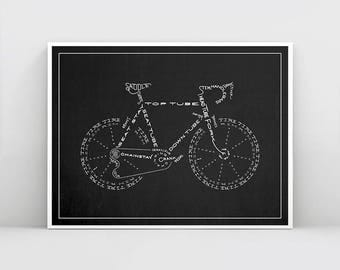 Black and White Cycling Poster, Typography Bicycle Poster, Bike Print, Bicycle Wall Art, Cyclist Gift, Cycling Wall Art, Bike Poster Decor