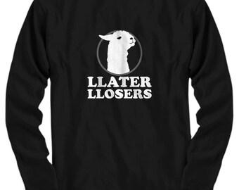 Funny Llama Shirt - Llater Llosers - Llama Gift - Llama T-Shirt - Llama Birthday Present - Long-Sleeve Style