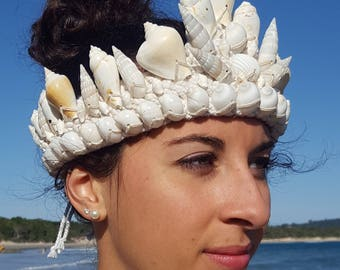 Mermaid Crown Tiara Natural Shells Handmade Macrame SeaGypsy Goddess Adornment