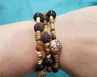 Bracelet, Wood and lava, wraps around wrist