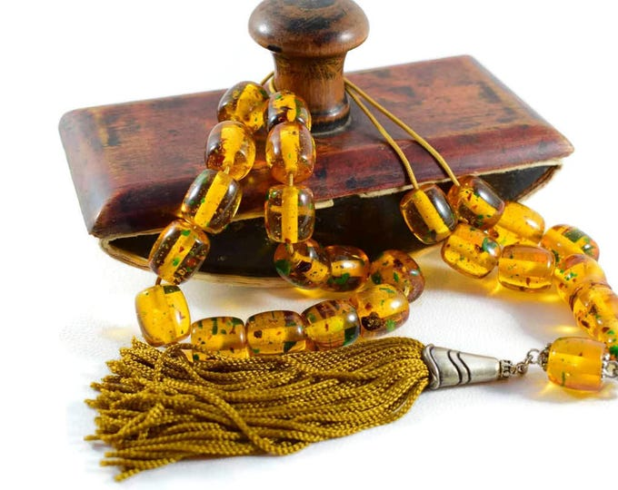 Worry Beads, Greek Komboloi, Champagne-Green Amber color, Barrel shape beads, Handmade Gold color tassel, Relaxation, Meditation.