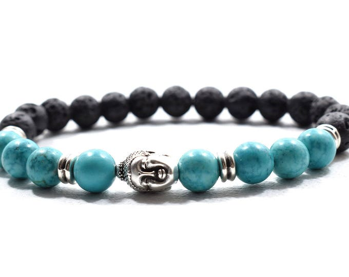Buddha Bracelet with Turquoise and Black Lava Beads.