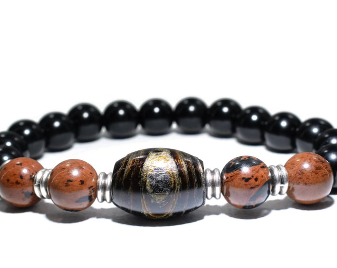 Women's Bracelet with Black Coral (Yusuri), Obsidian and Black Onyx Beads.