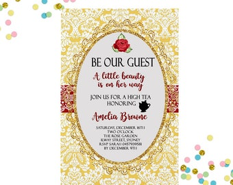 Baby Shower Invitation  Beauty And The Beast Invitation   Beauty And The Beast  Baby Shower