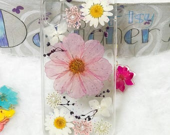 For iphone 10 Handmade pressed flowers sparkle cellphone Silicone soft case for iphone 10 iphone X white pearl sparkle glitter case cover
