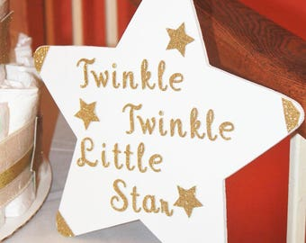 Twinkle Twinkle Little Star Large Wood Star | Baby Shower, Birthday Party, First Birthday