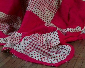 Vintage Red & White Patchwork Quilt