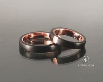 Partner rings bentwood ebony wood, copper