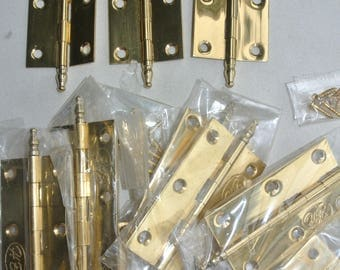10 small hinges vintage style polished solid Brass DOOR light finial 63 mm screw