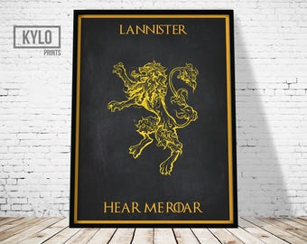 Game of Thrones Print, House Lannister, Movie Print, Instant Download, Game of Thrones Poster, Winter is Coming, Jon Snow, Printable Art