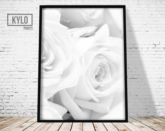 White Roses Print, Modern Decor, Home Decor, Wall Art, Printable Art, Instant Download, Photography Poster, Minimalist Art, Digital Print