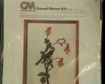 Vintage Crewel Kit. Columbia-Minerva Audobon Bluebird and Floral Branch Crewel Picture Kit. Black Throated Blue Warbler. Audobon Society.