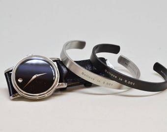 Believe in 0.001 Stainless Steel Cuff Bracelet, Mens Cuff Bracelet, Mens Bracelet, Mens Gift, Groomsmen Bracelet, Mens Jewelry