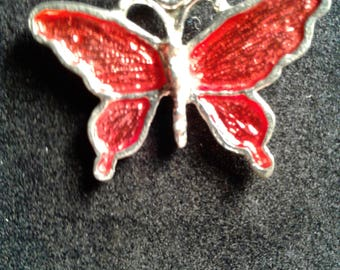 Hand casted pewter Butterfly in Red enamel set of 2 (29)