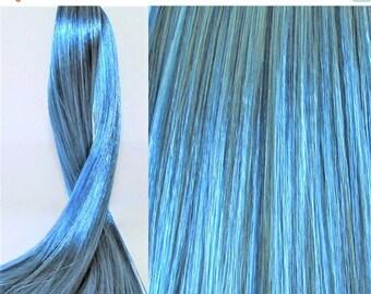 25% OFF SALE WATERY Blue Saran Doll Hair for Custom Ooak/Rerooting