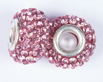 2 beads style European o15 with crystals pink