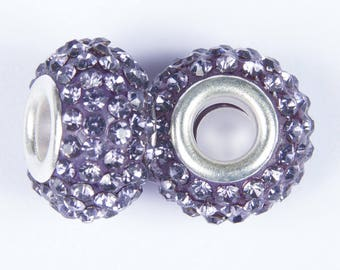 2 beads style European o15 with plum crystals