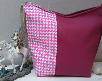 Pink faux leather shoulder bag and cotton pink and white houndstooth pattern