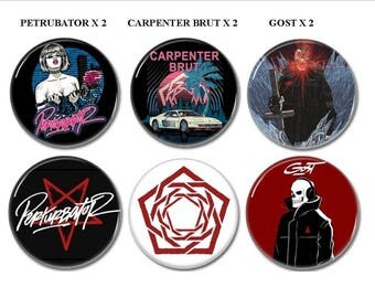Synthwave band buttons set of 6!  (outrun, futuresynth, badges, pins, electronic music)
