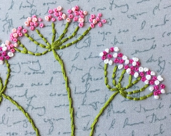 Queen Annes Lace Embroidered Wall Art , Floral Embroidery , Stitched Art , Boho Wall Art, Pink and White floral art