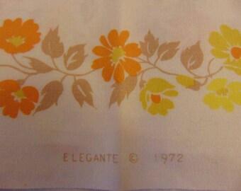 1972 Elegante Yellow / Orange floral fabric - 11+ yards!!!