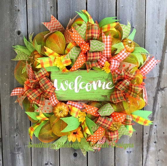 Welcome Guests With Fall Door Decorations: Fall Wreath Welcome Wreath Autumn Wreath Fall Decor Holiday