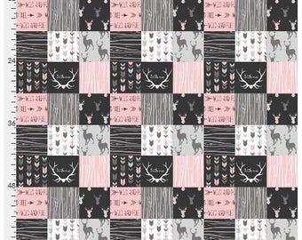 Designer Patchwork Minky - Pink Woodgrain Minky - Woodlands Fabric- Fabric by the Yard - Faux Quilt Minky - Nature Fabric- Ships out today
