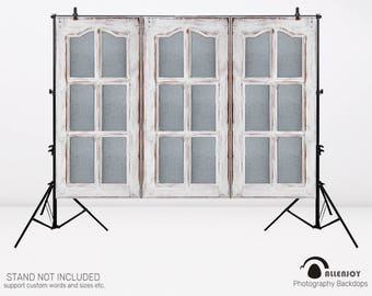 Cottage Window Backdrop Painted White Windowpane Door Photo Backdrop Baby Shower Portrait Photography Background Photo Studio,AEC-00527